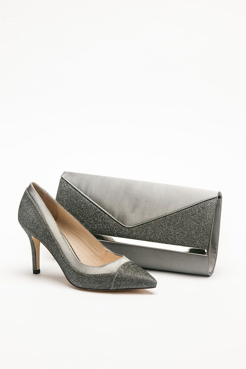Mid Height Dark Grey Pointed Shoe And Matching Bag Catherines Of Partick Special Occasion Outfits Grey Shoes Shoes