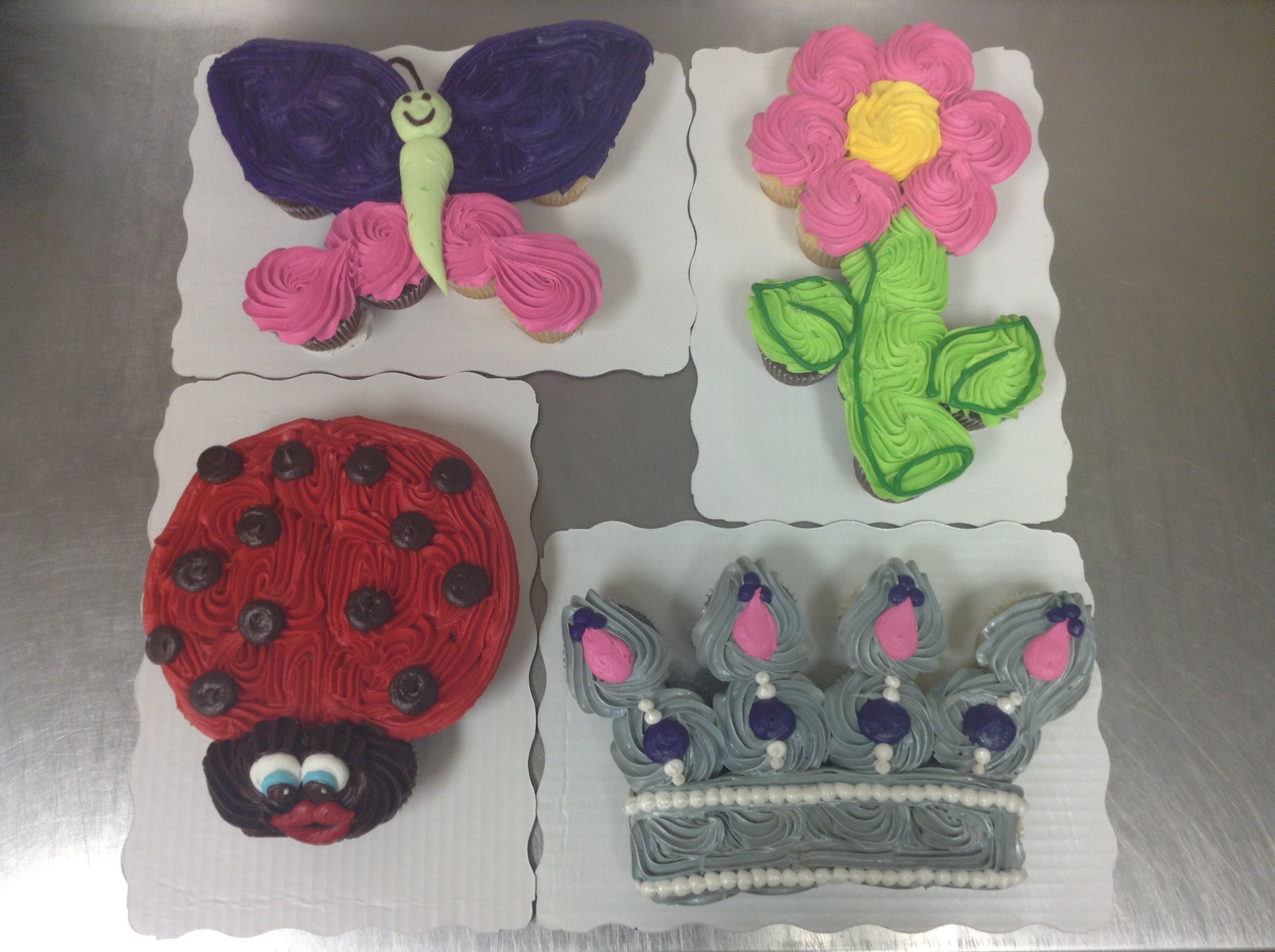 Butterfly Flower Ladybug And Crown 12 Count Cupcake Cakes Made