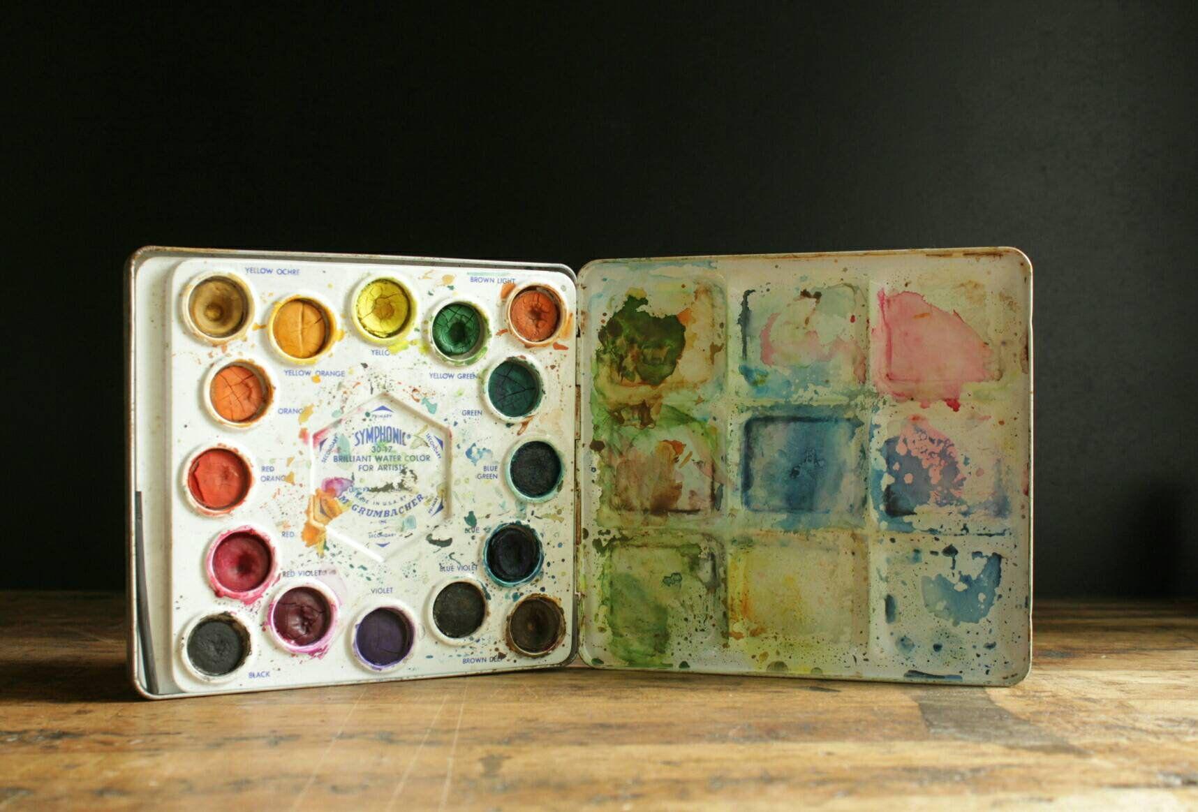 Vintage Grumbacher Watercolor Set In Tin Art Supplies Studio