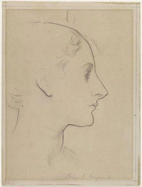 John Singer Sargent - Profile of Madame Gautreau, c. 1883–84, Black pencil on beige paper, 21 x 15 cm, Musées Nationaux, Paris.