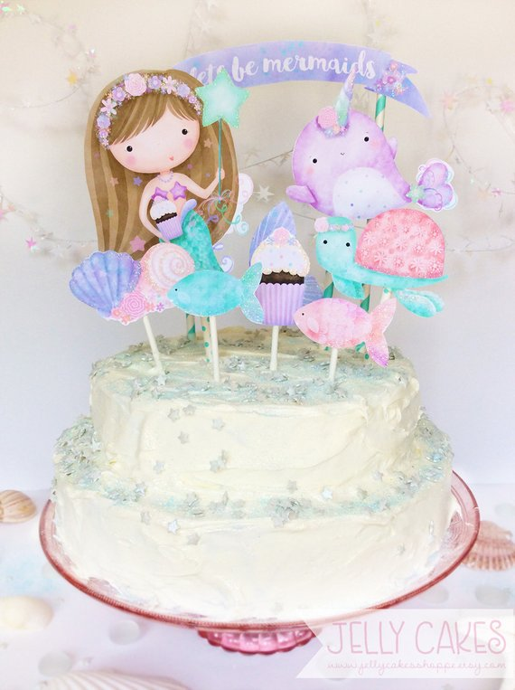 Diy Mermaid Cake Topperdiy Birthdaymermaid Birthdaygirls Mermaid Cake Topper Birthday Cake Girls Mermaid Cakes