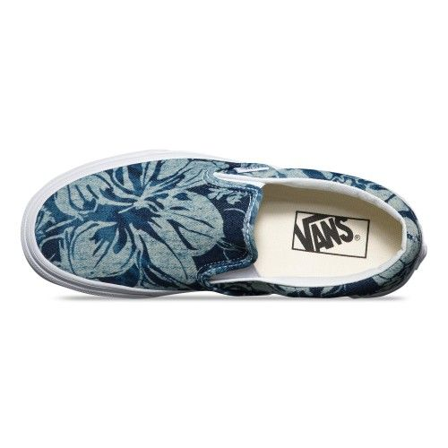 Vans Indigo Tropical Classic Slip-On Shoes (Indigo Tropical) Blue/True White