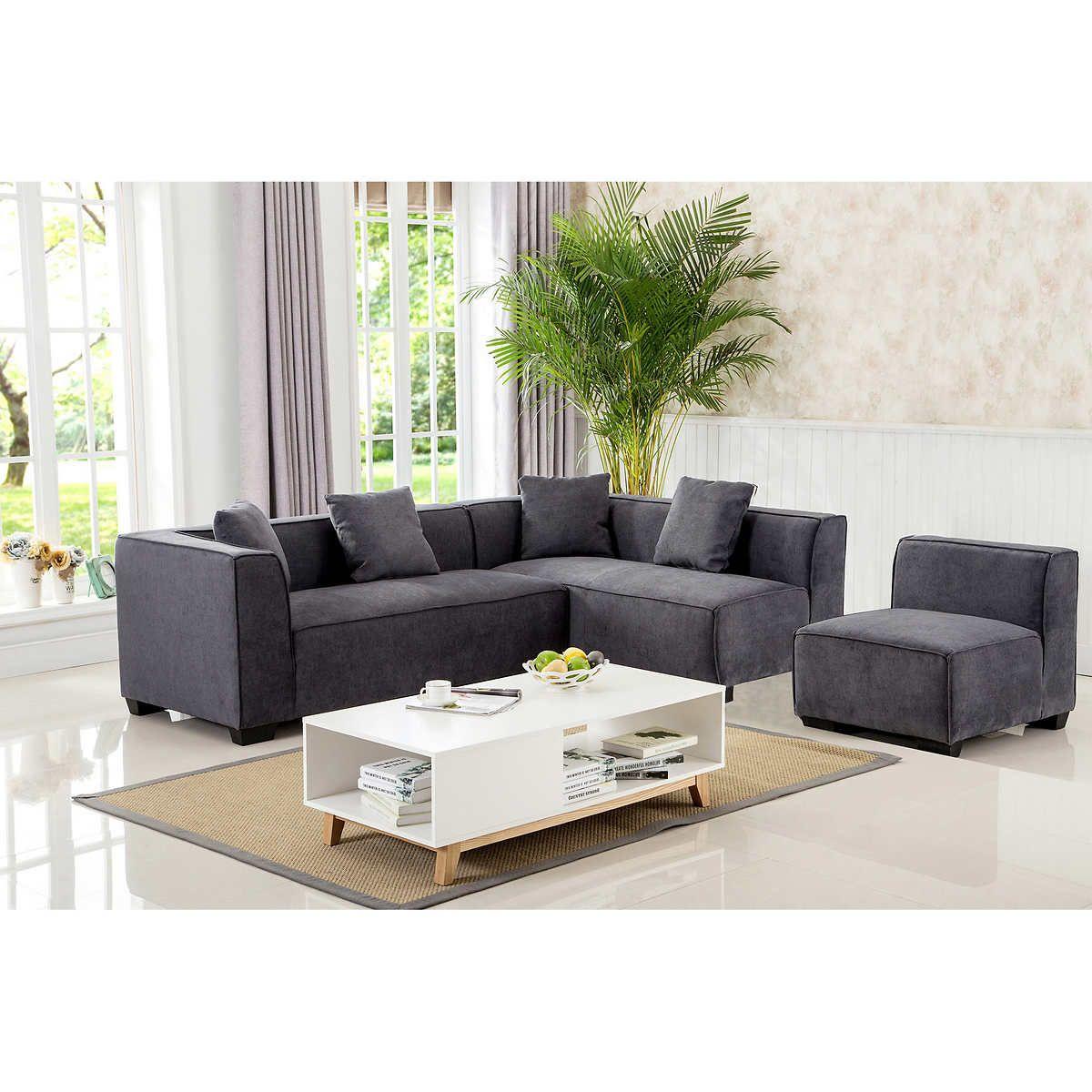 Costco Living Room Sets: Cobrizio Dark Grey Modular Sectional