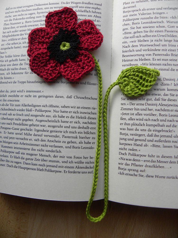 Lesezeichen Mohnblume Hakelblumen Gehakelt Bucher Bucherzubehor Lesezeichen Ebay Crochet Bookmark Pattern Crochet Flower Tutorial Crochet Bookmarks