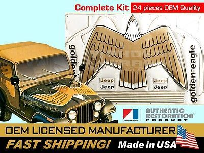1977 1978 1979 1980 Jeep Golden Eagle Cj5 Cj7 J10 Sj Hood Bird Decal Stripes Kit Stripe Kit Jeep Golden Eagle Jeep Decals