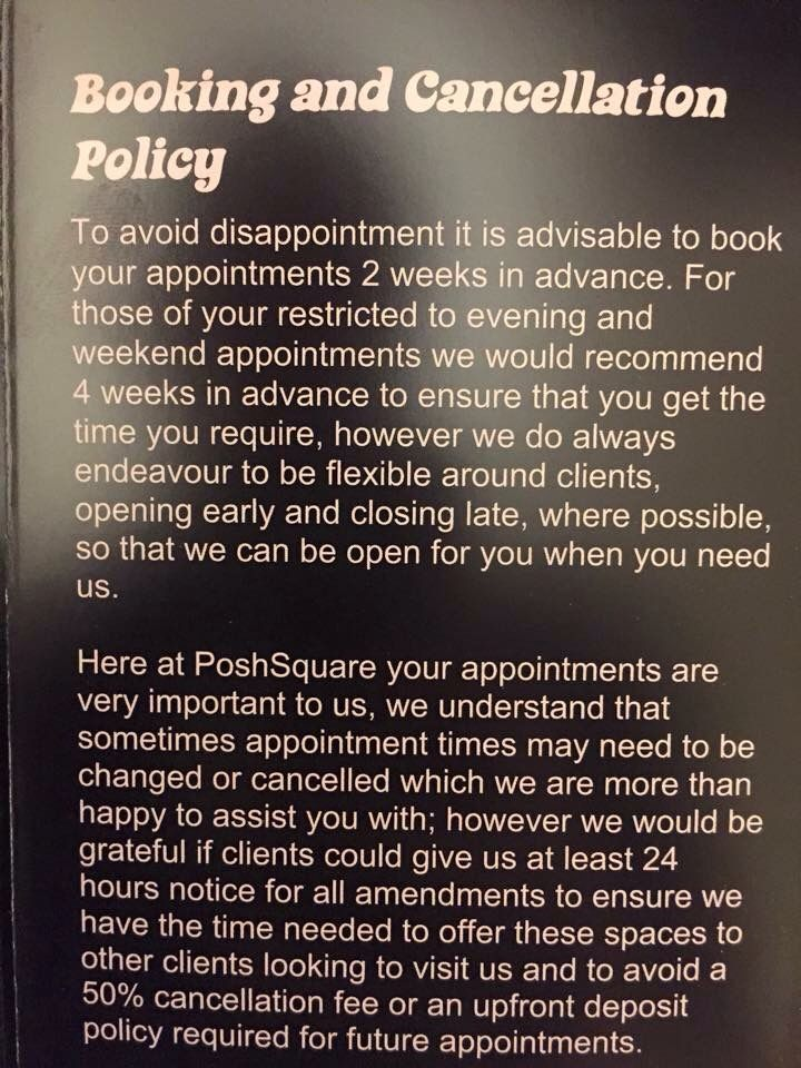 Cancellation Policy Wording Ideas      Salons