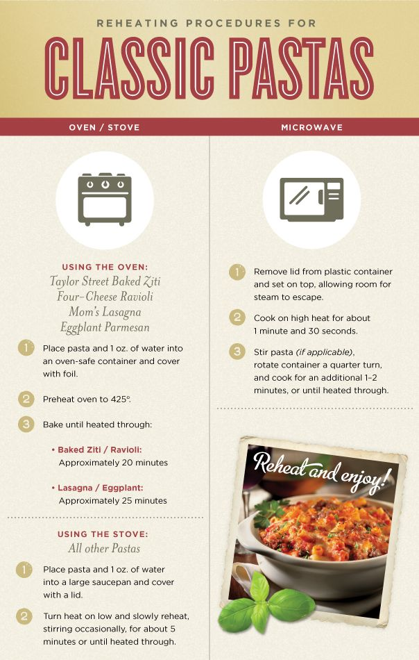 Maggiano S Classic Pasta Reheat Instructions Using The Oven Stove Or Microwave Reheat Pasta Crock Pot Hot Chocolate Recipe Food
