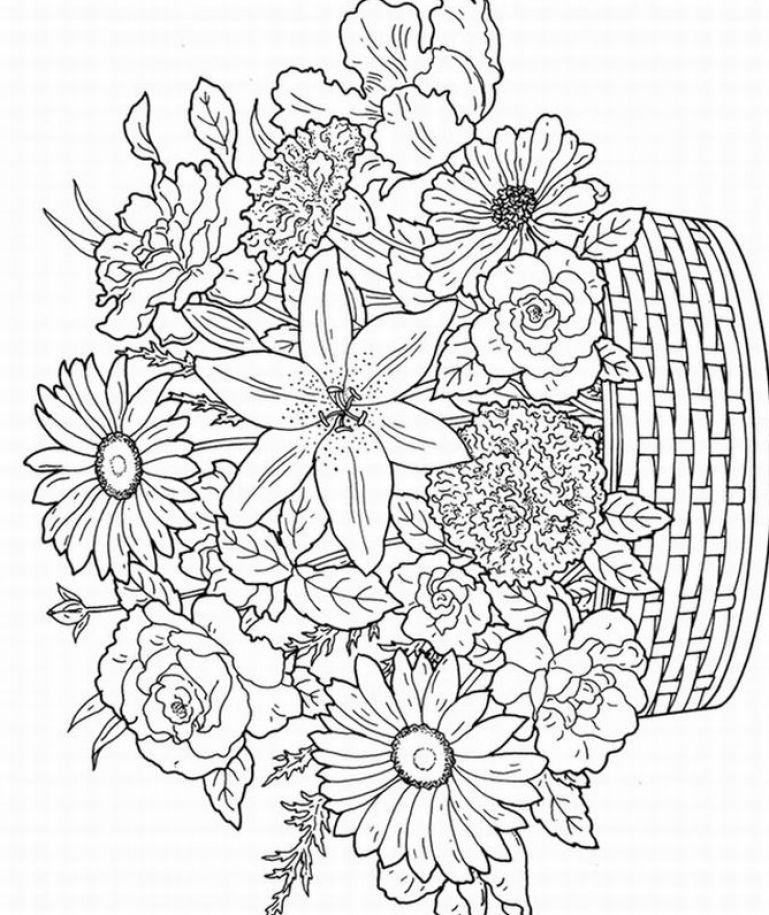 basket o flowers coloring page images of printerable adult coloring pages free