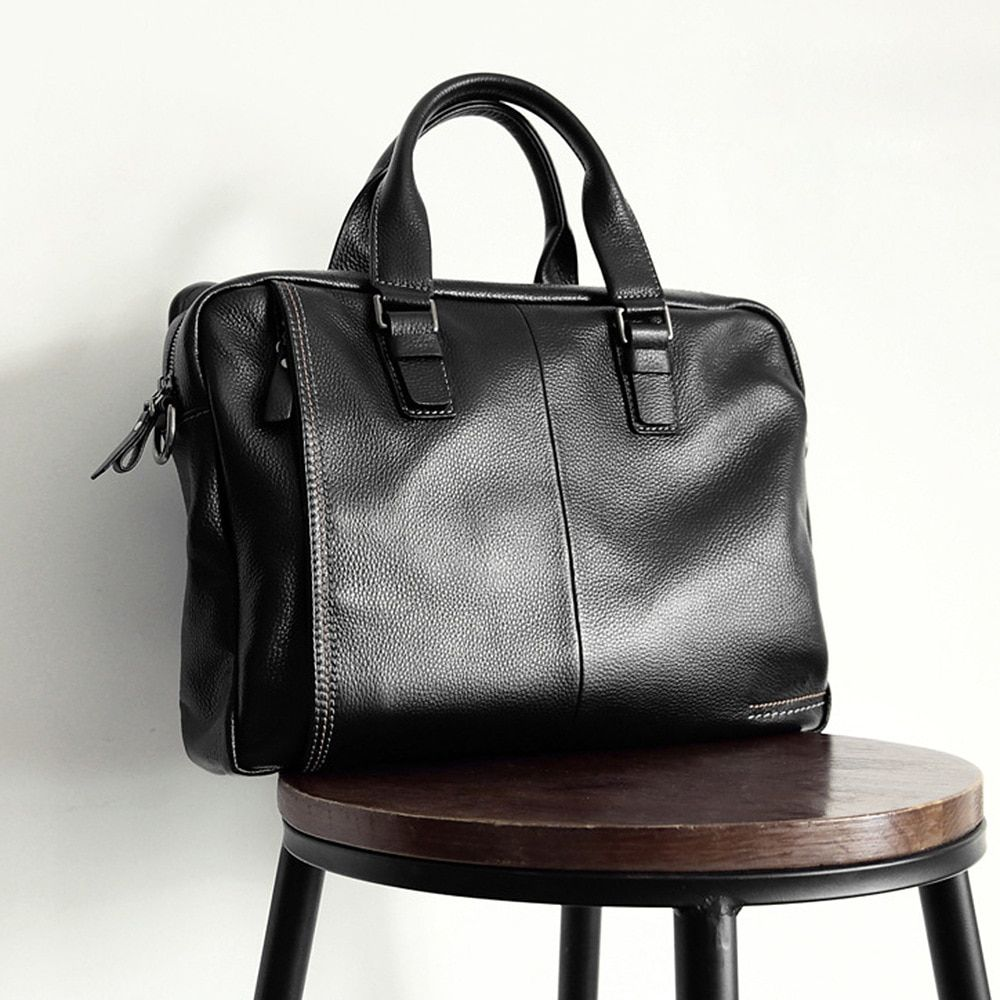 2019 New Natural Cowskin 100 Genuine Leather Men S Briefcase Fashion Large Capacity Business Bag Black Male Shoulder Laptop Bag Laptop Bag Men Mens Leather Laptop Bag Briefcase For Men