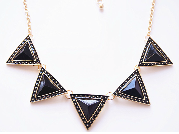 3D Lacquered Full Gloss Triangle Cluster Punk Necklace - Necklaces - Jewelry Free shipping