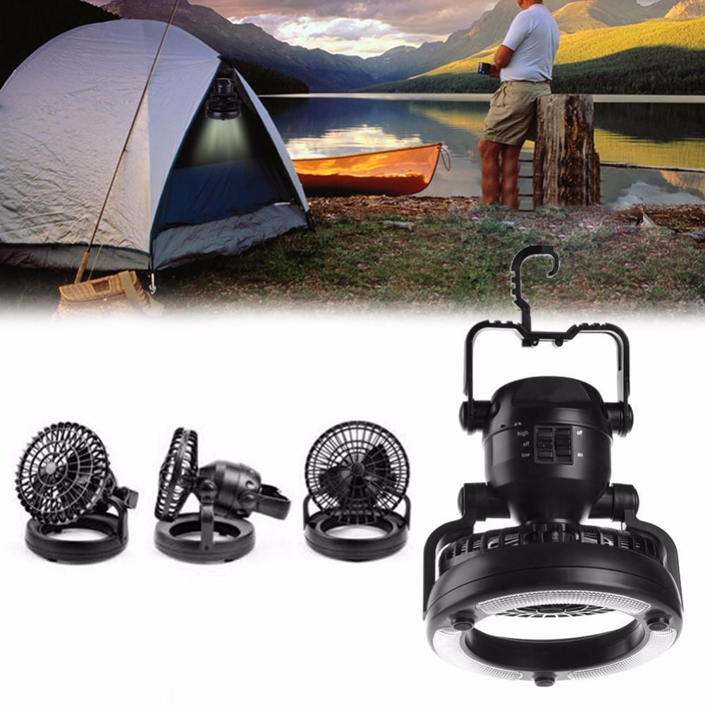Black 2 In 1 Camping Ceiling Fan 18LED Light Hanging Tent Lamp Lantern Outdoor ~