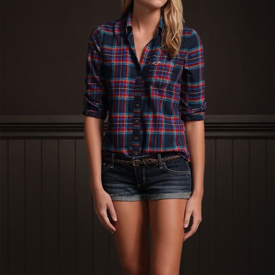 Hollister hco women red blue plaid button down shirt top for Plaid shirts for women