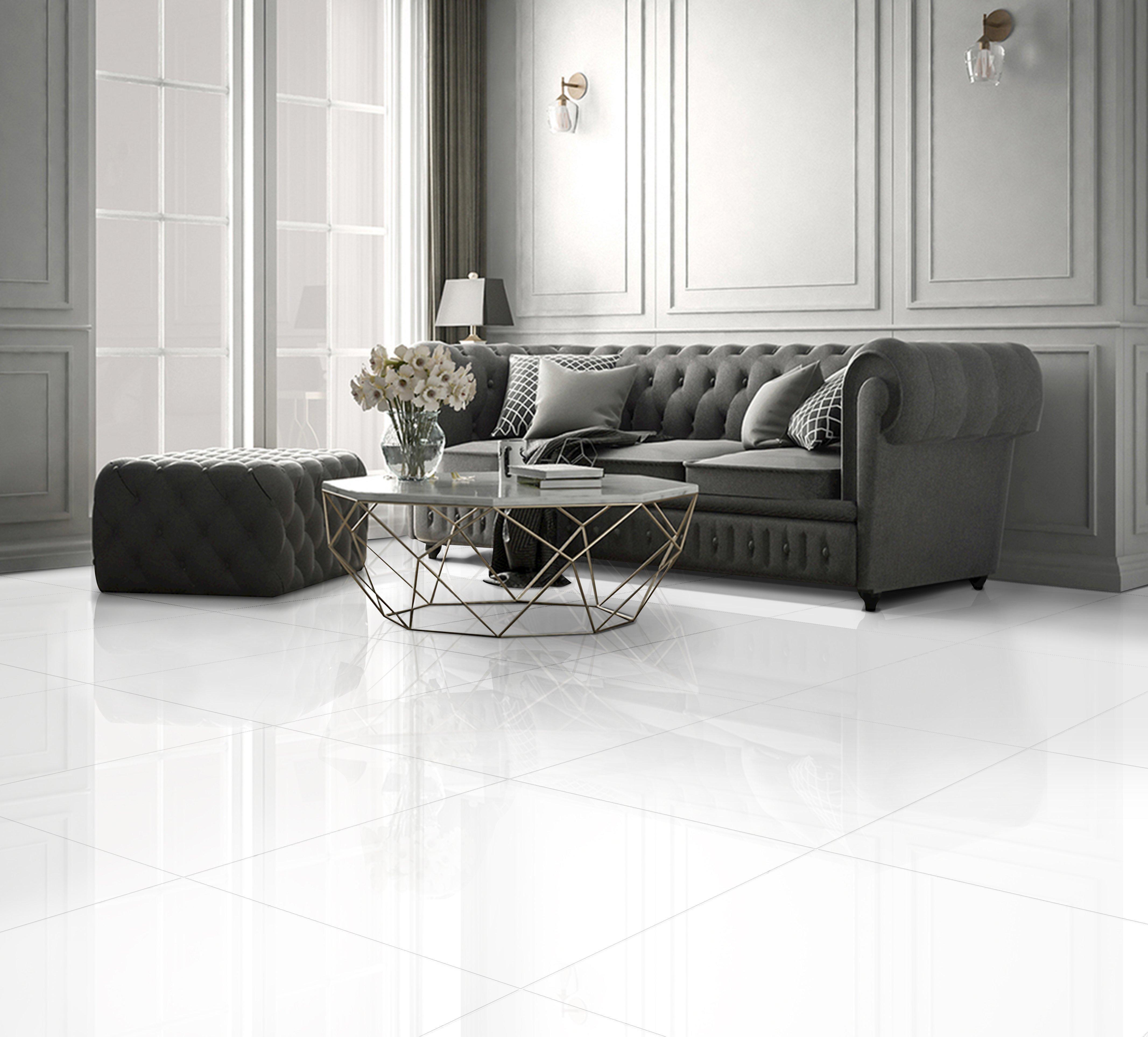 White 600 X 600mm Polished Ceramic Floor Tile Floor Tiles Living Room Modern White Floors Living Room Marble Living Room Floor