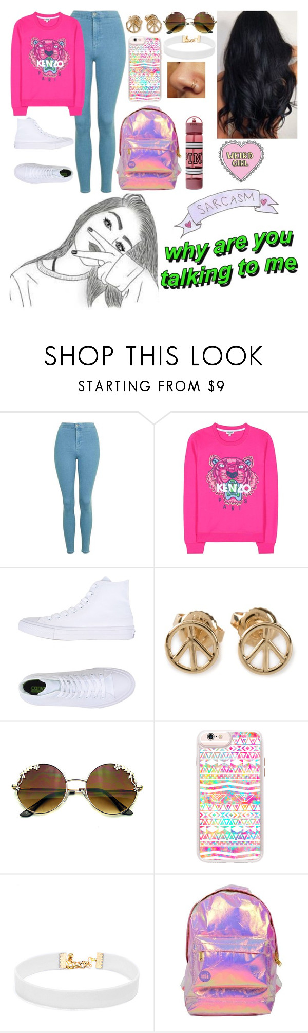 """weird girl"" by ms-prettymama ❤ liked on Polyvore featuring Topshop, Kenzo, Converse, Aurélie Bidermann, Casetify, Vanessa Mooney and Miss Selfridge"