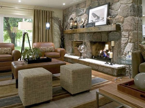 30 Stone Fireplace Ideas For A Cozy Nature Inspired Home Stone Fireplace Designs Basement Living Rooms Living Room Designs Divine design basement family room
