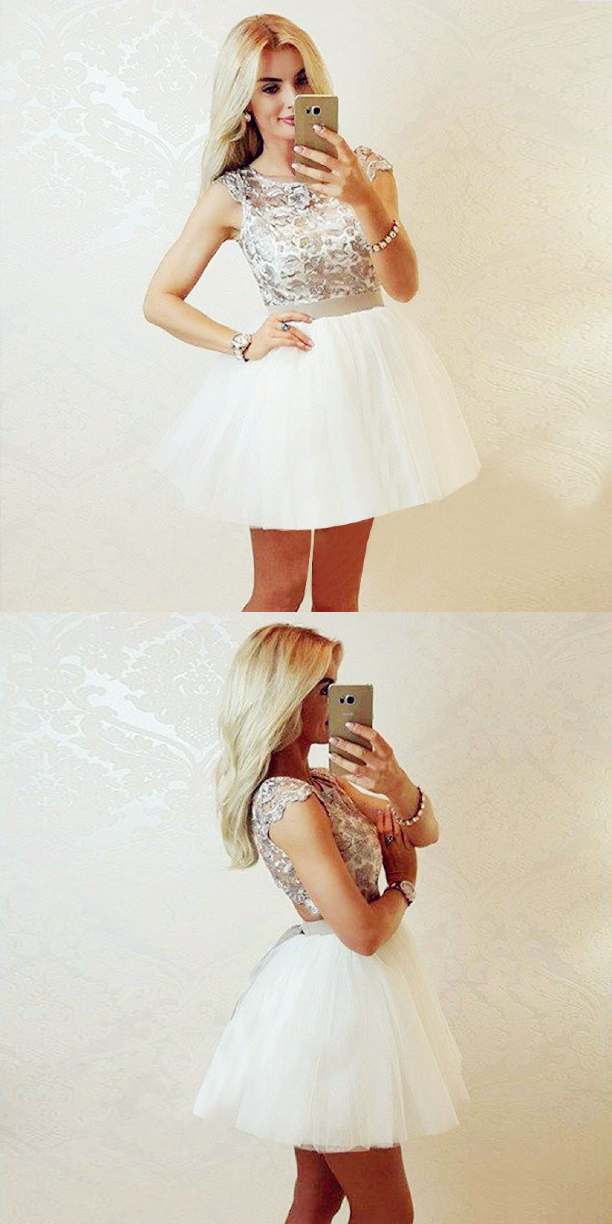 Aline round neck cap sleeves white short homecoming dress with lace