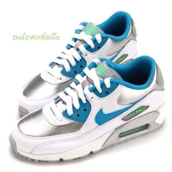 kid shoes Nike Air Max 90 LTR GS White Blue Lagoon Metallic