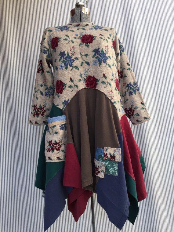 Upcycled Pullover Kleid Shabby Boho Chic romantische Appliqué und ...