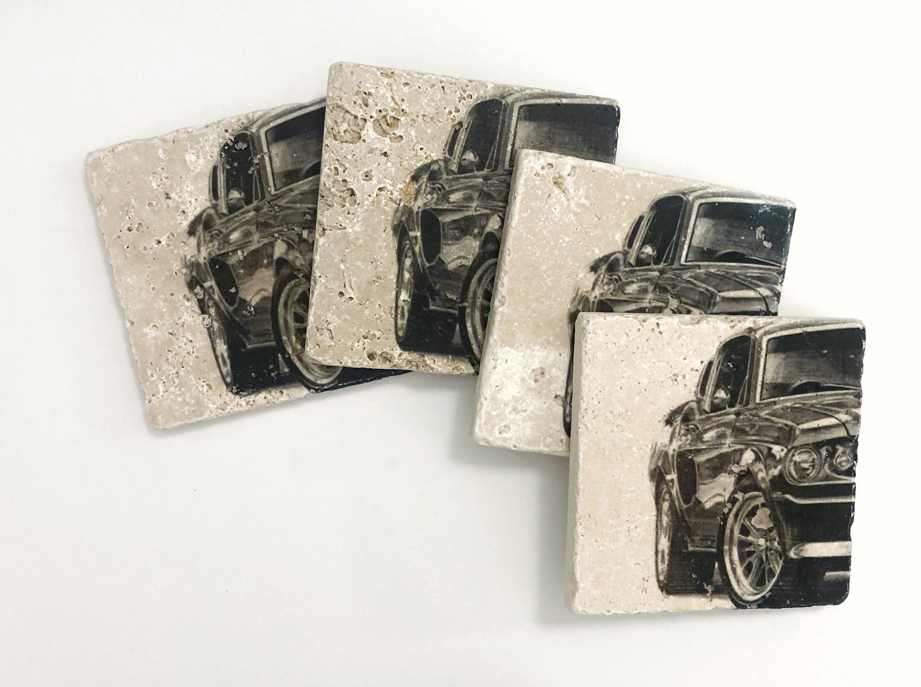 Classic Car Natural Stone Coasters Set of 4 with Full Cork