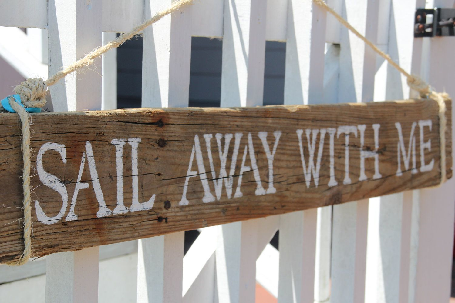Sail Away With Me- reclaimed wood sign, coastal chic. $49.99, via Etsy.