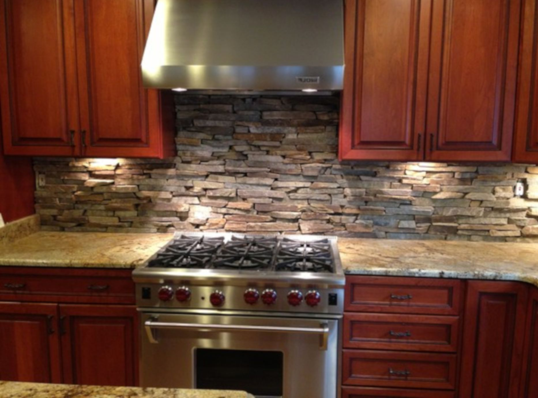 Stacked Stone Backsplash For Kitchen Appliance Dazzling Decor
