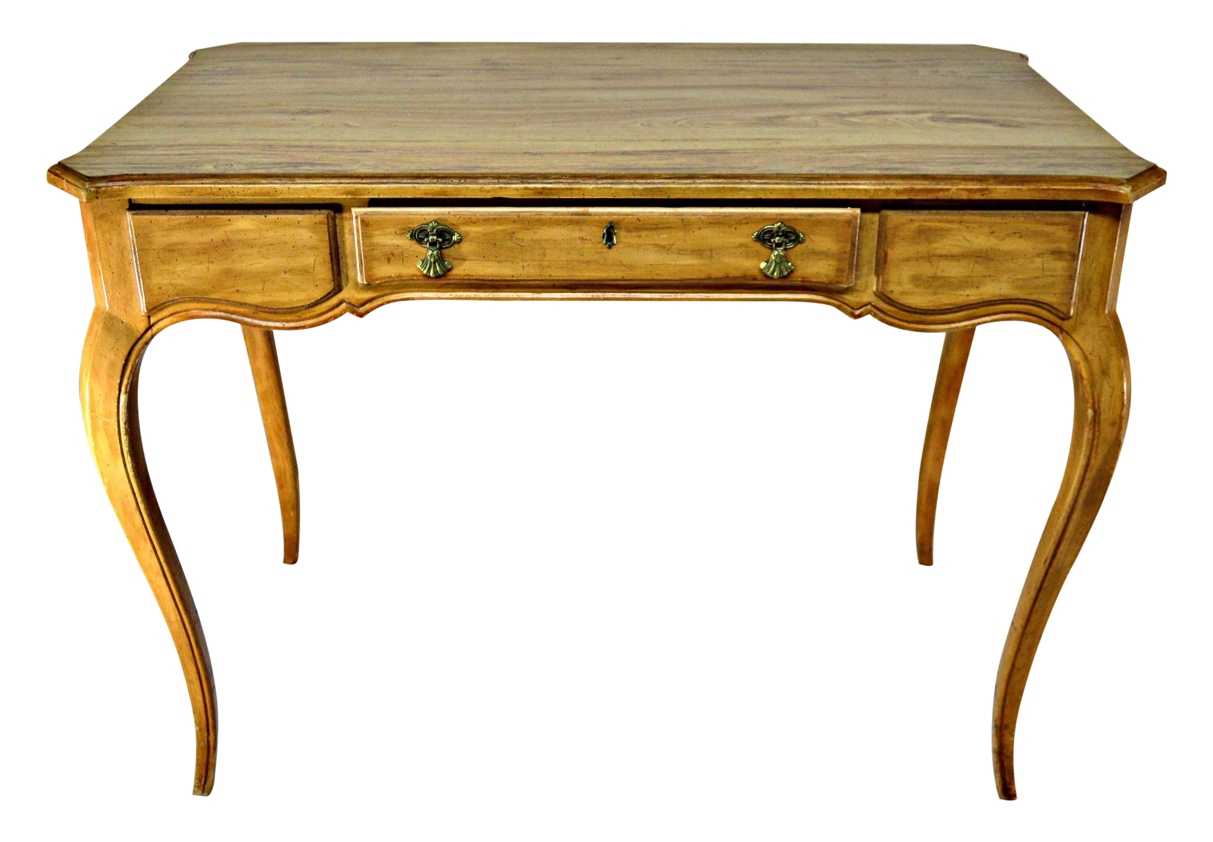 French Provencal Style Writing Desk With Pencils Drawer Nice Natural Cloudy Wood Veins