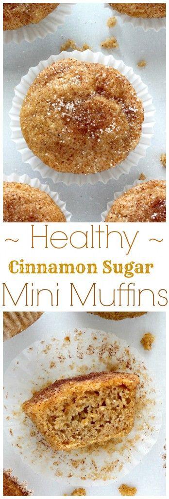 Healthy Cinnamon Sugar Mini Muffins - Ready in 20 minutes, these healthy treats taste like donut holes!!! AMAZING!