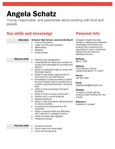 high school student resume samples with no work experience - resume for food server