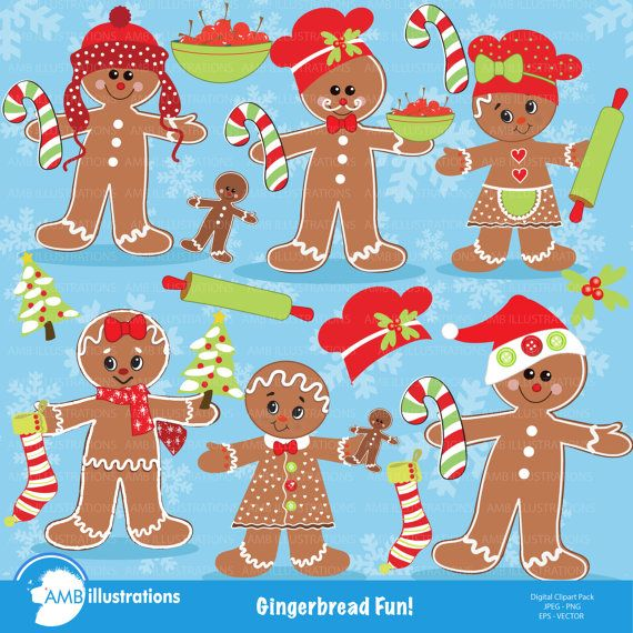 80%OFF Gingerbread clipart, Ginger bread cookie clipart, gingerbread boy clipart, digital clipart, instant download, AMB-377