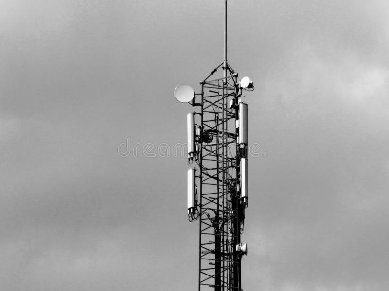 Telephone Tower Black And White Photo Telephone Tower Black White O Infrastructure Radio Towers Sky Stock Image Photo Black And White Tower