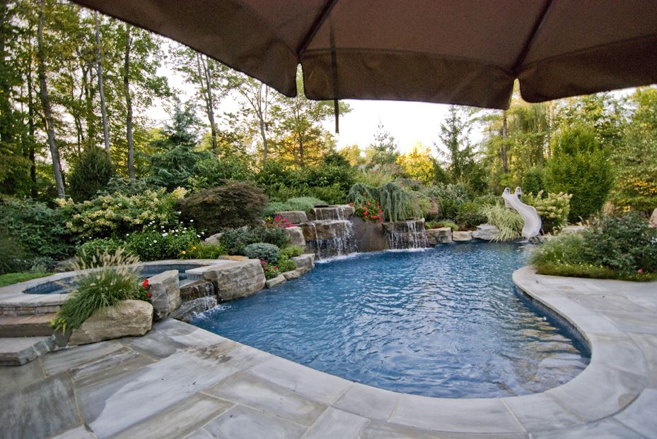 pool landscape ideas fetching custom swimming pools and landscaping ideas mahwah nj - Custom Swimming Pool Designs