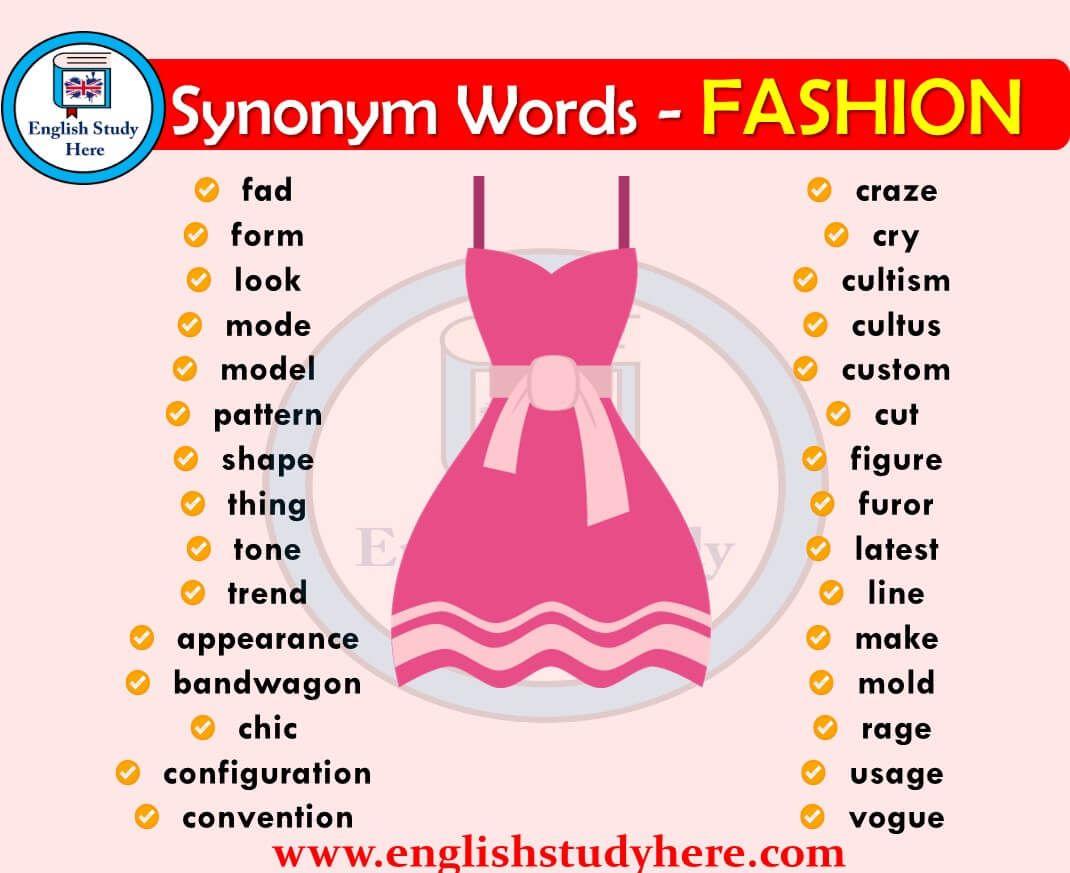 Fashion Synonyms Words Ingilizce