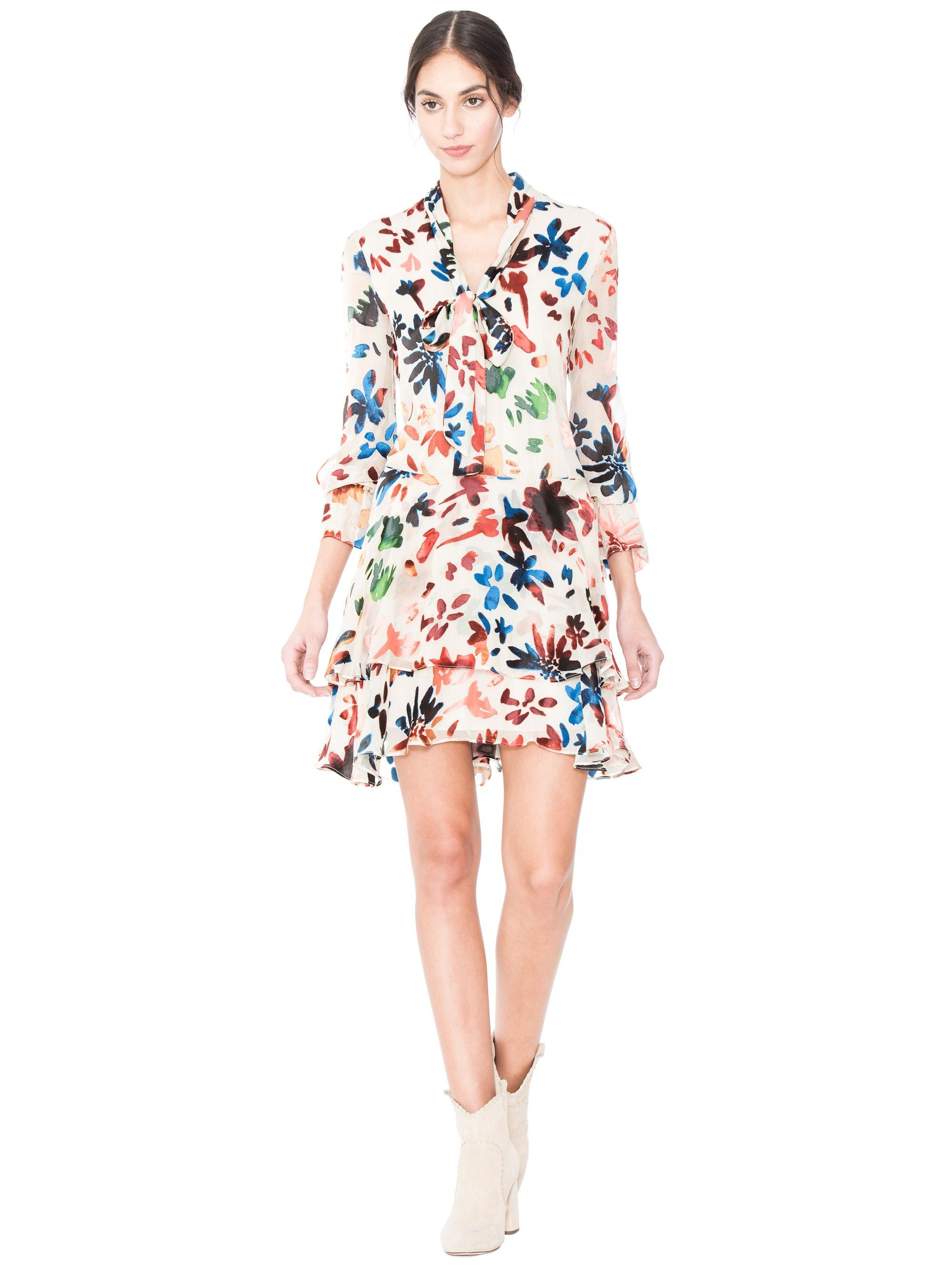 2452c0a37aa74 ALICE AND OLIVIA MOORE V NECK LAYERED SKIRT TUNIC DRESS - PRISMA FLORAL  BURNOUT.  aliceandolivia  cloth