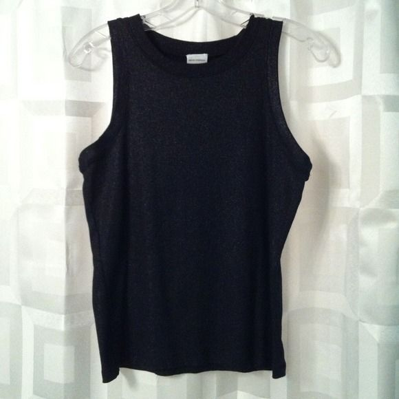 Black sparkly tank top. If you're busty...don't bother....lol. This top runs small. So cute..great layering piece. Chic sparkly material. Great layering piece. Isaac Mizrahi Tops Tank Tops
