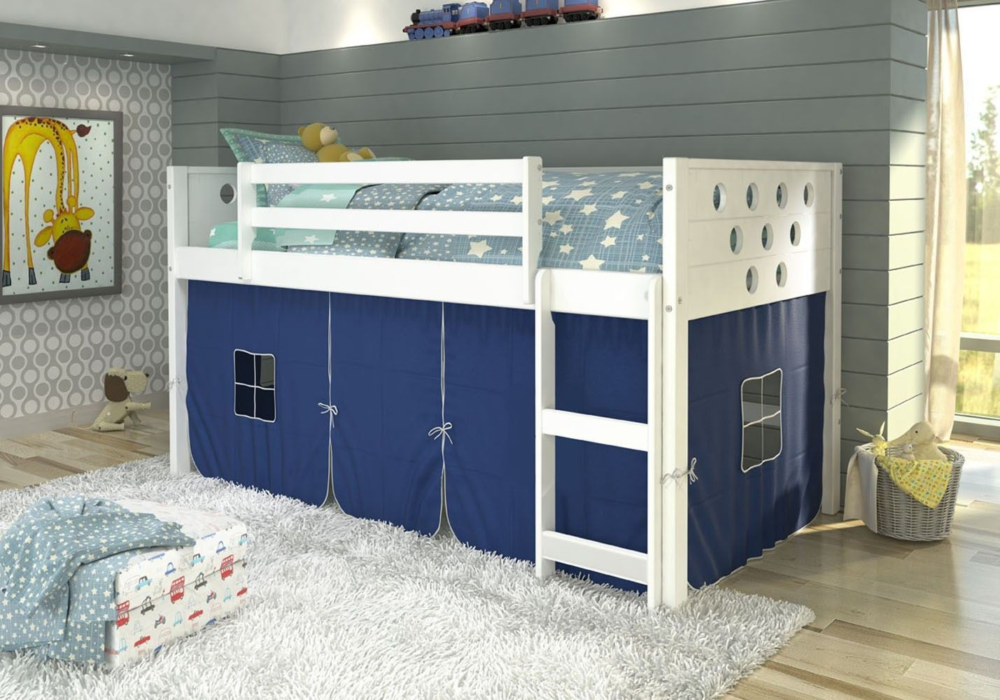 Camo loft bed with slide  Christopher White Loft Bed with Blue Tent  Circle design Play