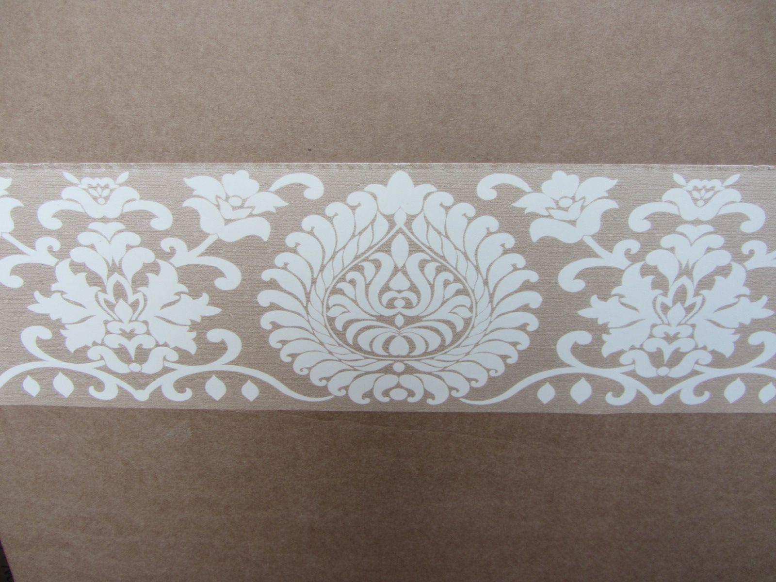 Kitchen wallpaper border  Damask beige wallpaper border pattern modern self adhesive decorate