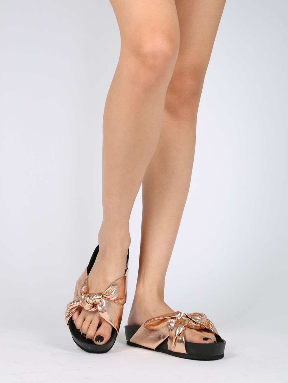 7ea1031e3 Shoes Women Leatherette Knotted Footbed Slide