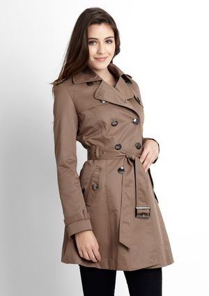 JESSICA SIMPSON Double-Breasted Trench Coat in taupe