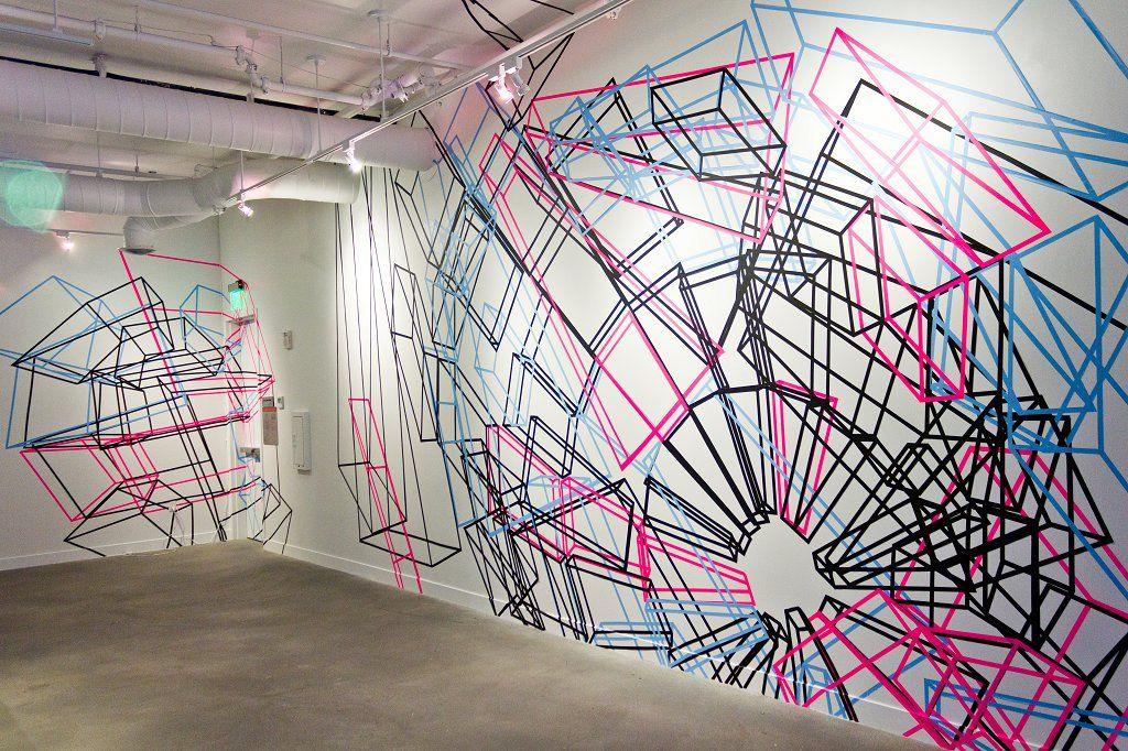 Lake ocean tape art wall drawing systems art