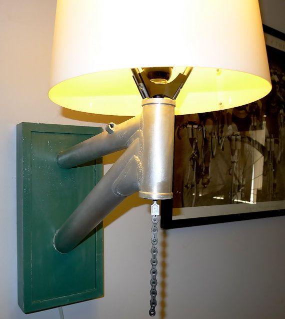Repurposed bicycle frames made into lamps - For more great pics ...