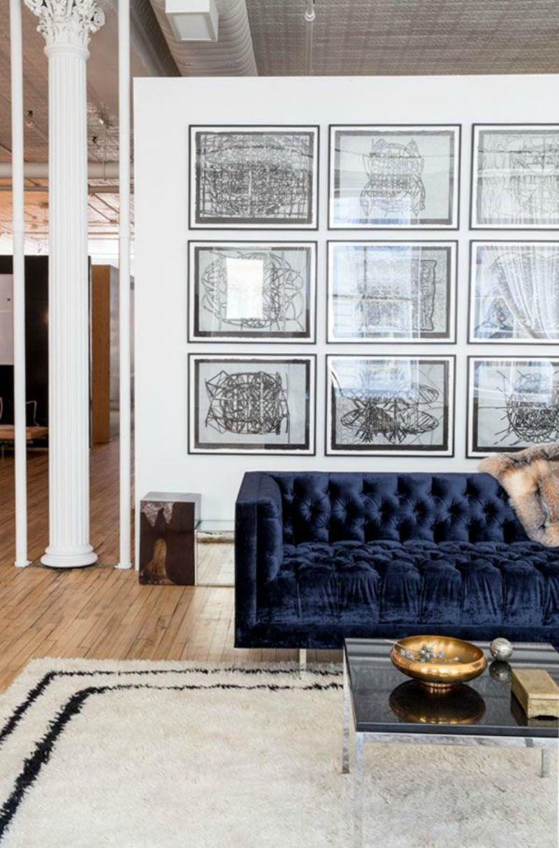 Blue Velvet Sofa Via Theline Com Living Room Decor Living Room Inspiration Room Decor #navy #sofa #living #room #ideas