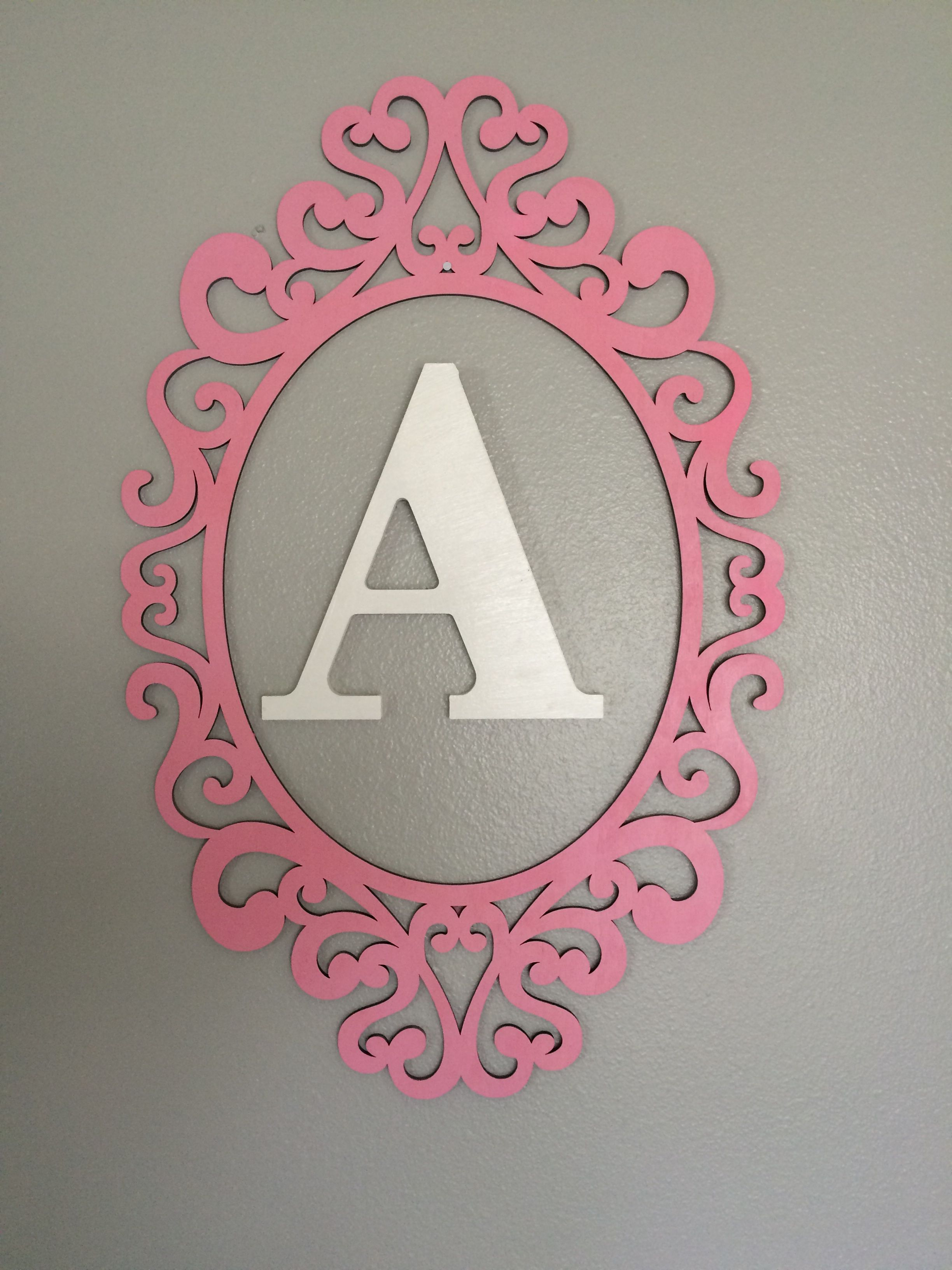 DIY Wooden laser cut frame painted baby pink & Wooden Letter painted ...