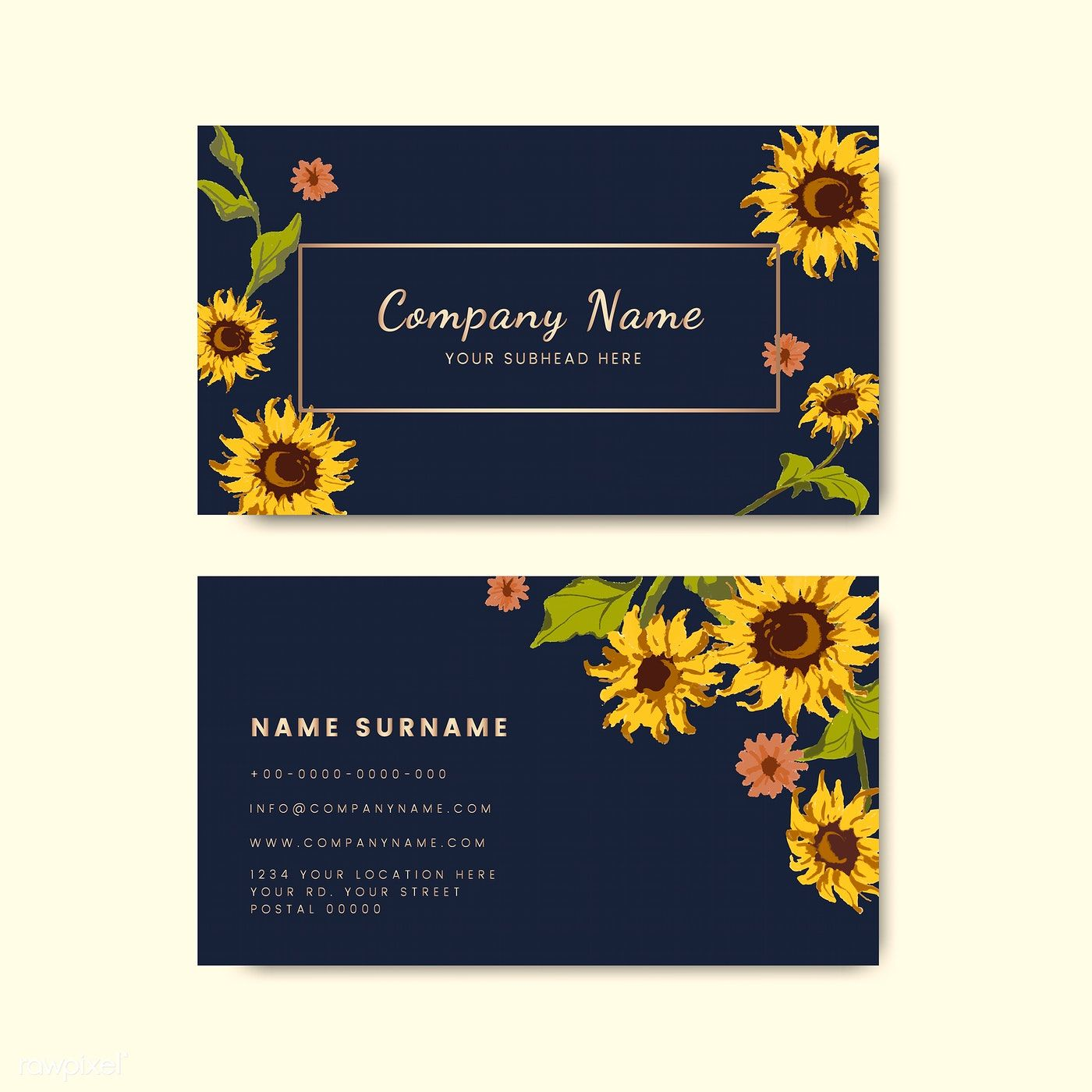Business Card Templates With Decorative Sunflower Design Free Image By Rawpixel Com Sicha Business Card Mock Up Design Mockup Free Vector Free