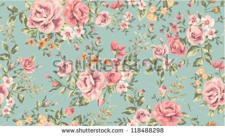 Vintage de patr n de flores en papel tapiz cl sico sin for Papel tapiz de patron para el pasillo