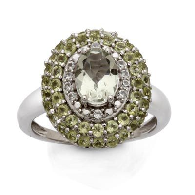 Zales Oval Green Quartz and Diamond Accent Ring in Sterling Silver bcJR8