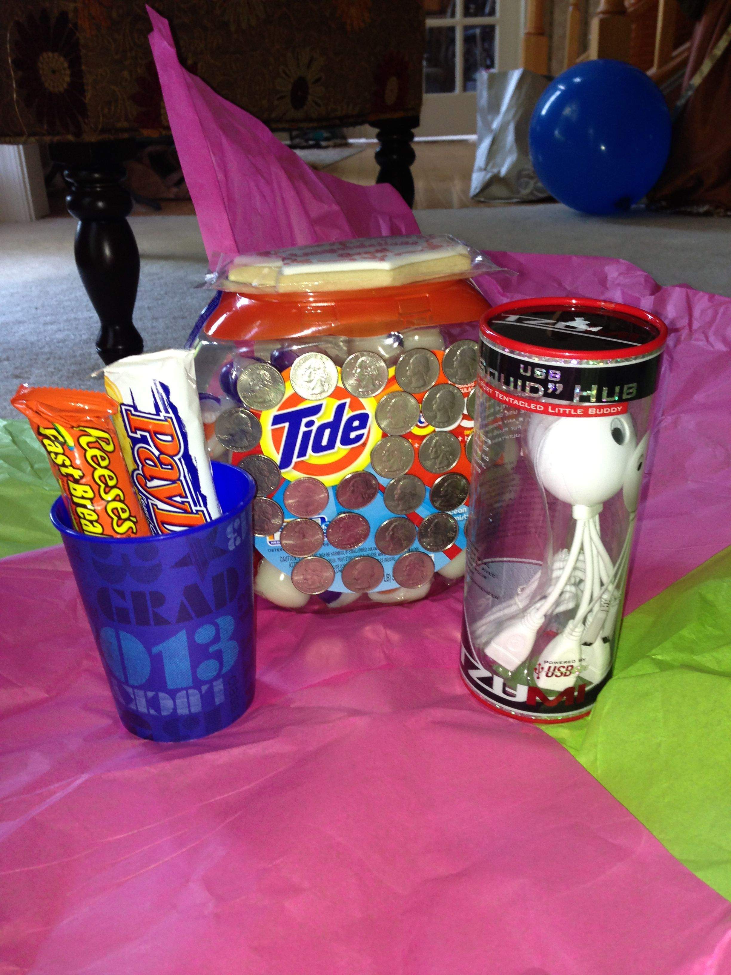 Graduation Gift To My Sister And Brother Quarters Stuck Onto Tide Pods For Laundry In College Grad Gifts Graduation Gifts Gifts