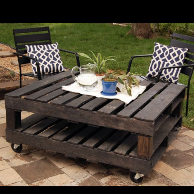 how to turn 2 pallets into 1 rolling table furniture