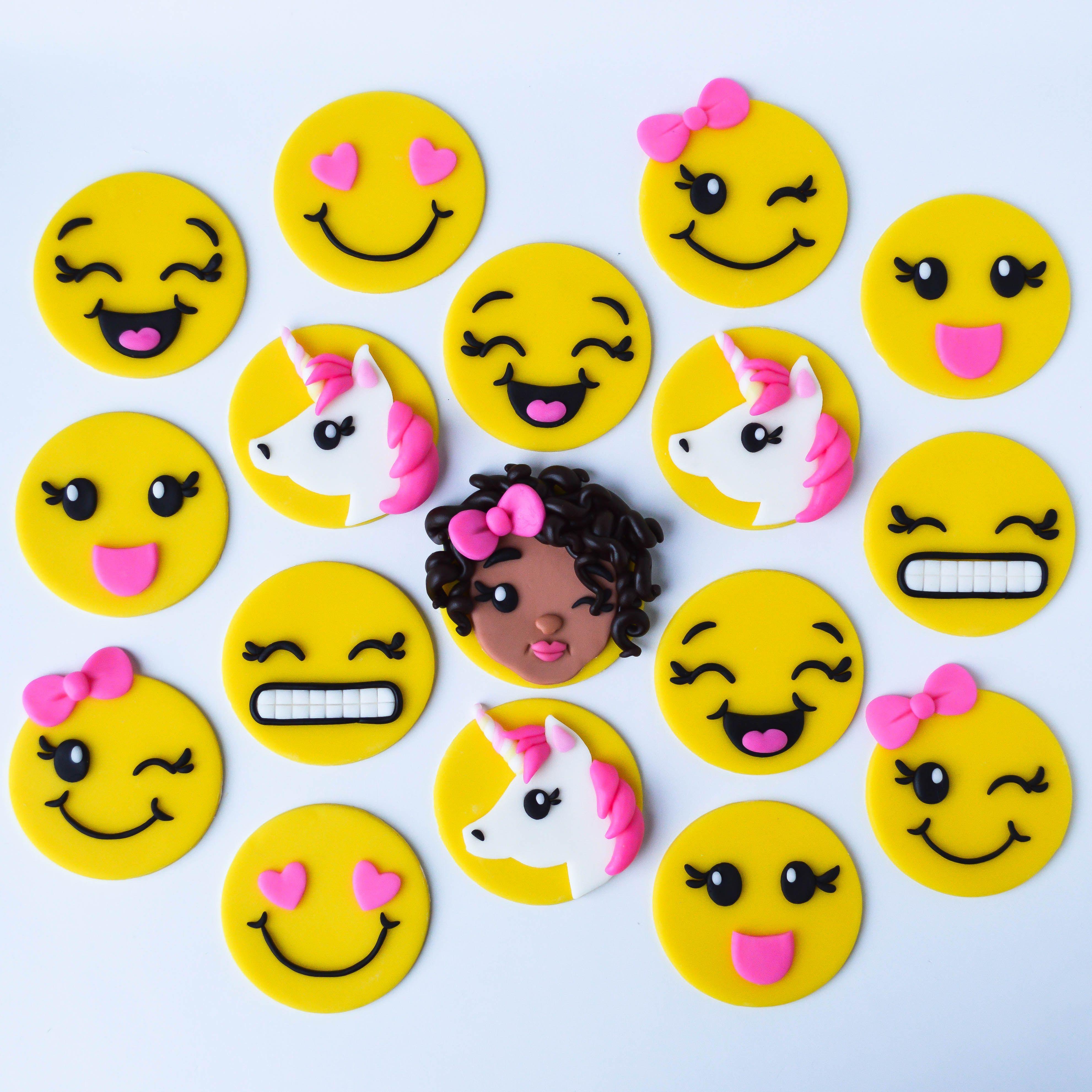 Justice Tween Emoji Themed Fondant Cupcake Toppers