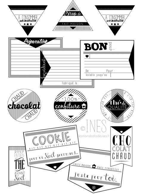 Etiquettes retro gratuites imprimer pour no l cadeau - Etiquette calendrier de l avent ...