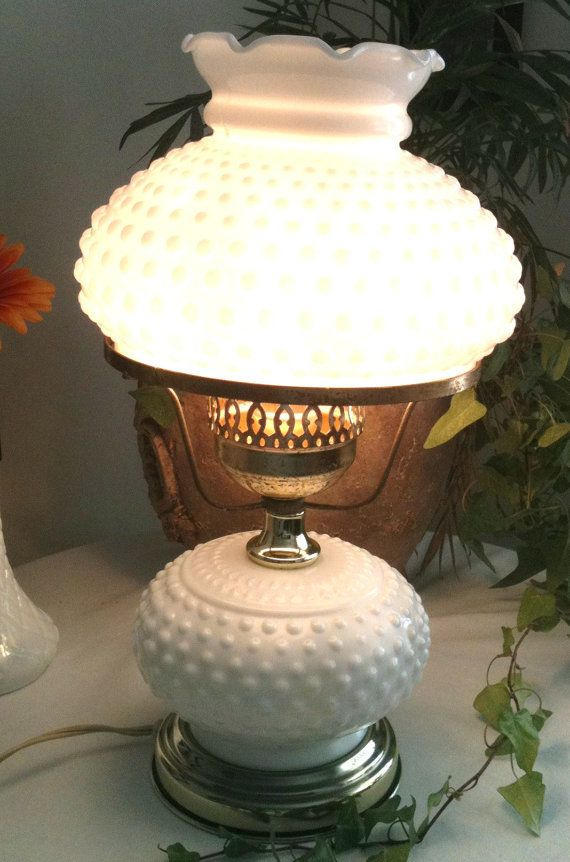 Vintage Milk Glass Lamp 50s Fenton Hobnail Table By TuleGroveSales